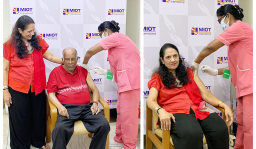 Founder & Chairman of MIOT Hospitals being vaccinated against COVID-19 on Feb 10 2021
